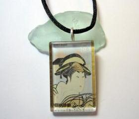 Pendant - Vintage Stamp, Glass Tile Traditional Geisha Pastels