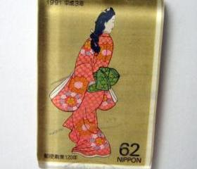 Pendant - Japanese Vintage Stamp, Glass Tile Geisha Peach Kimono