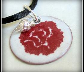 Pendant - Red Flower on White Enameled Copper