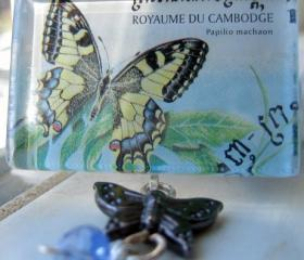 Pendant - Butterfly Royaume du Cambodge Glass Tile
