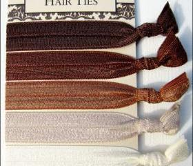 Elastic Hair Ties - Chocolate Fade Collection - Set of 5 - Doubles as Bracelet