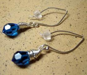 Earrings - Sapphire Blue Swarovski Crystal Sterling