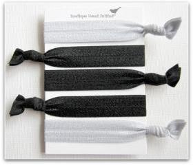 Hair Tie Elastic Anthropologie Inspired Double as Bracelets Silver and Licorice Black Set of 5