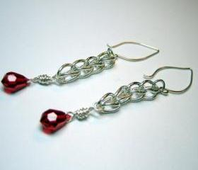 Earrings - Fine Silver Loop Chain Ruby Red Swarovski