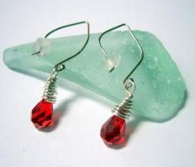 Earrings - Ruby Red Swarovski Crystal Sterling
