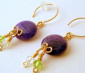 Earrings - 14K GF Purple Aventurine Coins Swarovski