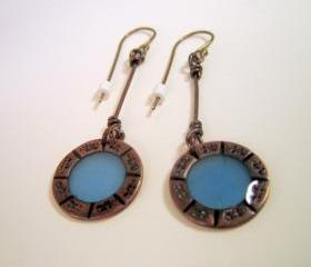 RESERVED Earrings - Cornflower Blue Resin Dark Copper Sterling Silver