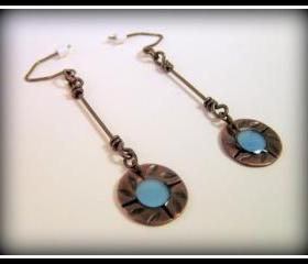 RESERVED Earrings - Cornflower Blue Resin Textured Dark Copper Sterling Silver