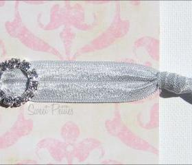 Silver Elastic Hair Tie - Crystal Charmer - Rhinestone Embellishment - Mane Accessory