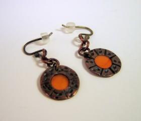 RESERVED Earrings - Tiny Tangerine Orange Resin Dark Copper Sterling Silver