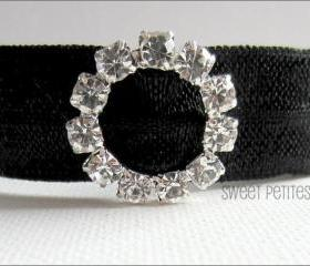 Black Hair Tie - Crystal Charmer - Rhinestone Embellishment - Mane Accessory