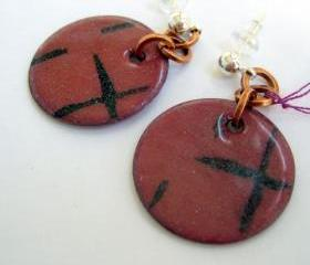 Earrings - Mauve Black Enameled Copper Posts