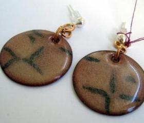 Earrings - Taupe Black Enameled Copper Posts