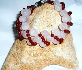  Rose Quartz and Red Agate bracelet handmade