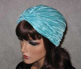 Handmade Pleated Turban -Aqua Blue Accordion