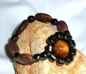 Tigers Eye and Agate Unisex Strechy Bracelet