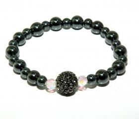 Gunmetal Hematite Pave Bead Bracelet - Hematite Beaded Bracelet - Stretch Bracelet - Diamante Teens Jewelry - Pave Crystal Bracelet