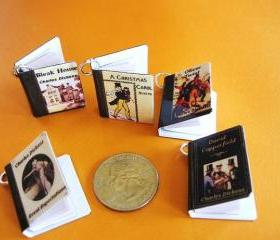 Miniature Book Charms - Dickens Classics Theme - Set of 5
