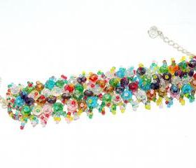 Multicolor Beaded Crystal Weaved Bracelet - Weaved Bracelet - Rainbow Bracelet - Gift