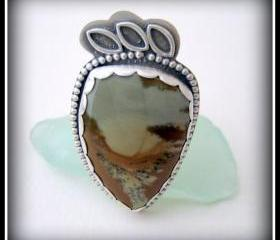 Ring - Sterling and Owyhee Jasper Size 11