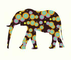 Colorful Elephant Decals Fabric Wall Sticker