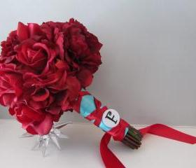 Real Touch Bridal Bouquet - Red and Aqua