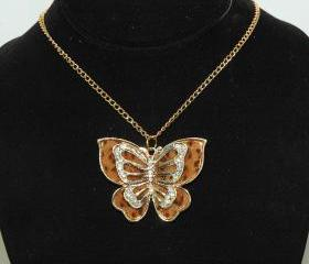 Brown Butterfly Necklace - Rhinestone Butterfly Necklace - Gift