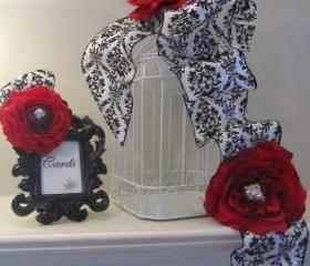 Wedding Birdcage Card Holder - Red Roses with Black and White Damask Ribbon