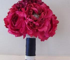 Silk Bridal Bouquet - Fuchsia Peonies and Ranunculus with Rhinestones