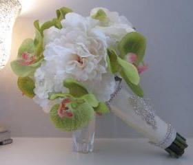 Real Touch Wedding Bouquet - Green Orchids and White Peonies and Roses