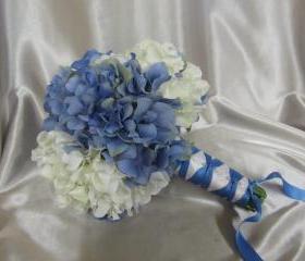 Silk Wedding Bouquet - Blue and White Hydrangea