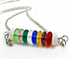 Rainbow Beach Glass Bar Necklace-Colored Beach Glass Bar Pendant Necklace - beachglass jewelry- colored jewelry- rainbow jewelry- glass necklace-glass jewelry- summer jewelry-summer necklace-colorful- multi colored- gift for her-graduation gift- bead necklace -bead jewelry