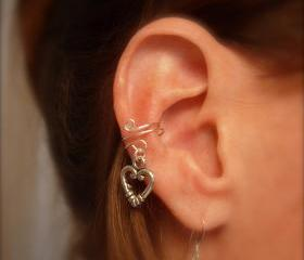 Ear Cuff, Dainty and Feminine Silver Cuff with Heart Charm