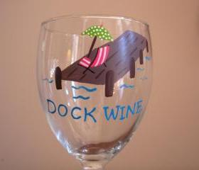 Dock Wine Glass Handpainted