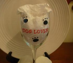 Dog Lover Wine Glass Handpainted