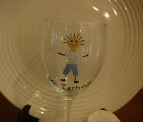 Mr. Tarheel Wine Glass Handpainted University of North Carolina