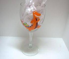 VA Tech Wine Glass Tailgaiting Alligator Handpainted Personalized
