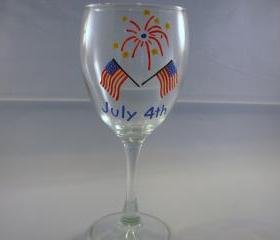 Handpainted Wine Glass 4th of July Flag and Fireworks