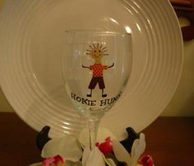 Virginia Tech Wine Glass Hokie Hunk