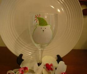 Polar Bear Wine Glass Handpainted