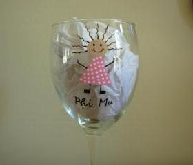 Phi Mu Wine Glass Handpainted