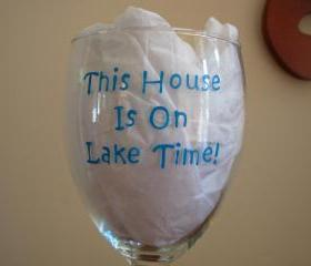 Handpainted Lake Time Wine Glass