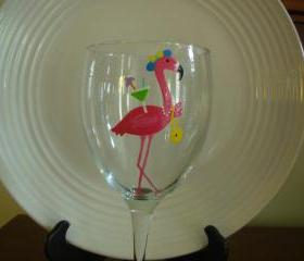 Pink Flamingo Wine Glass Diva Handpainted