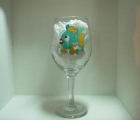 Fish Wine Glass Handpainted Personalized