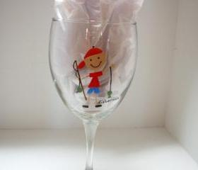 Fisherman Wine Glass Handpainted