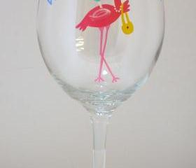 Flamingo Wine Glass Handpainted Personalized Oversized