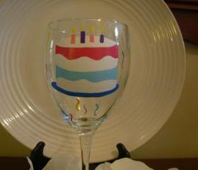 Birthday Wine Glass Handpainted Cake Personalized