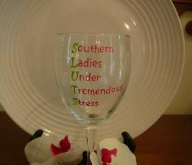 SLUTS Wine Glass Handpainted