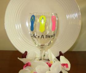 Flip Flop Wine Glass Handpainted Life's A Beach