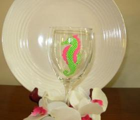 Seahorse Wine Glass Handpainted
